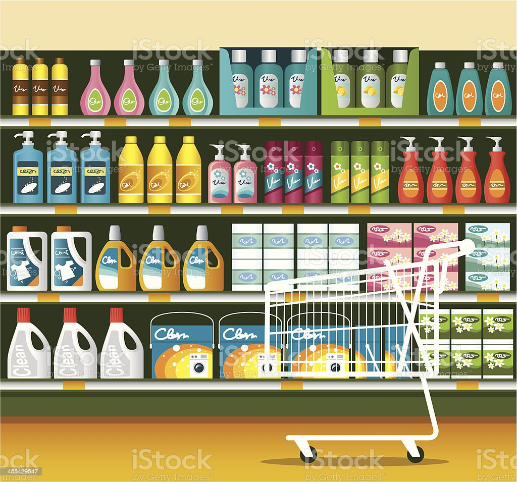 Supermarket with Cleaning Product Packaging royalty-free stock vector art