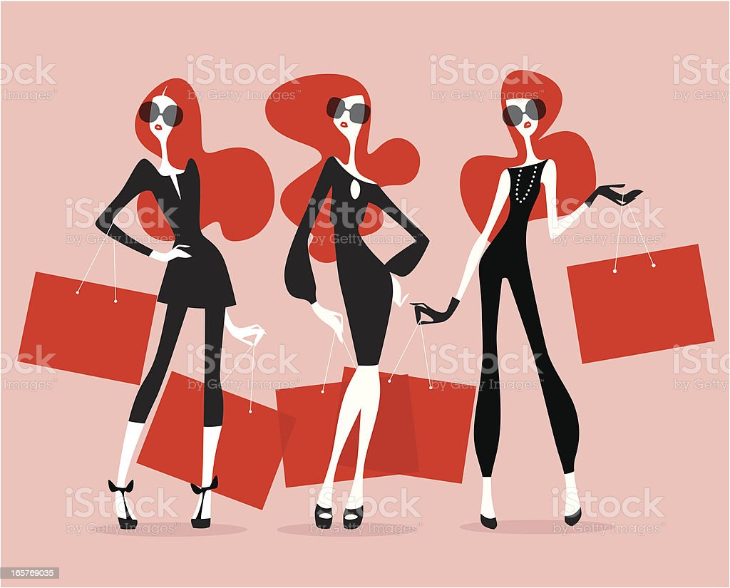 Supermodels (Shopping) vector art illustration