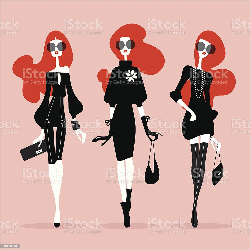 Supermodels (Catwalk) royalty-free stock vector art