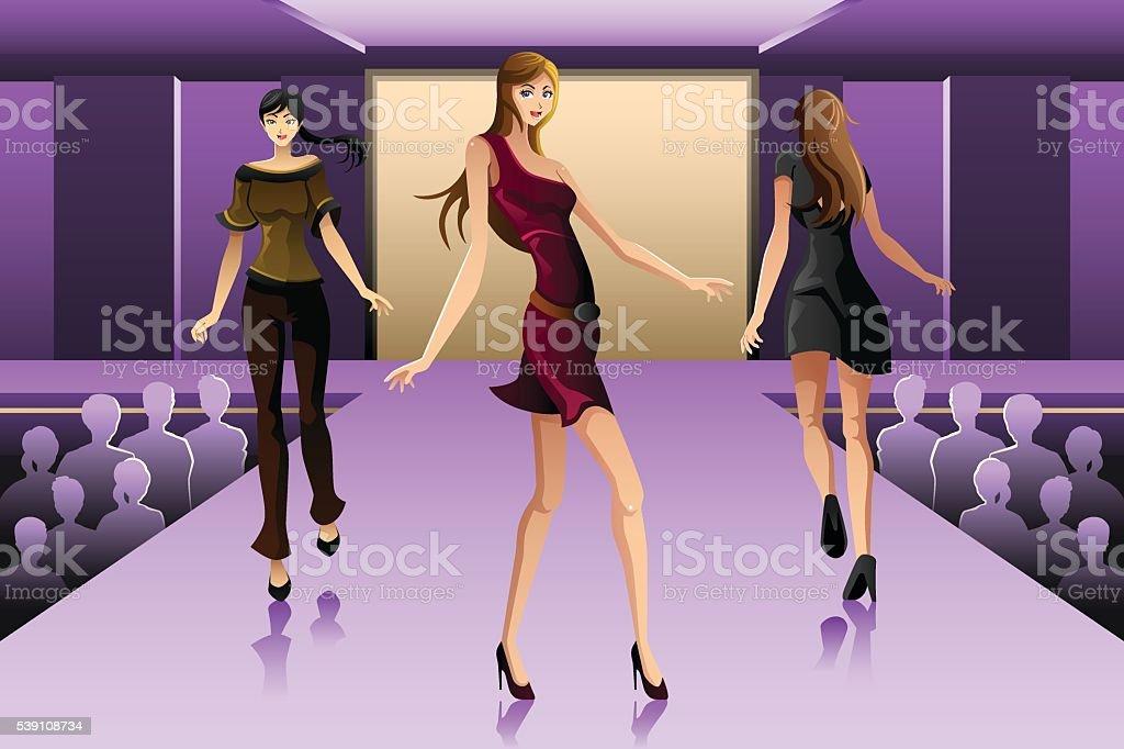 Supermodels walking on a runway show vector art illustration