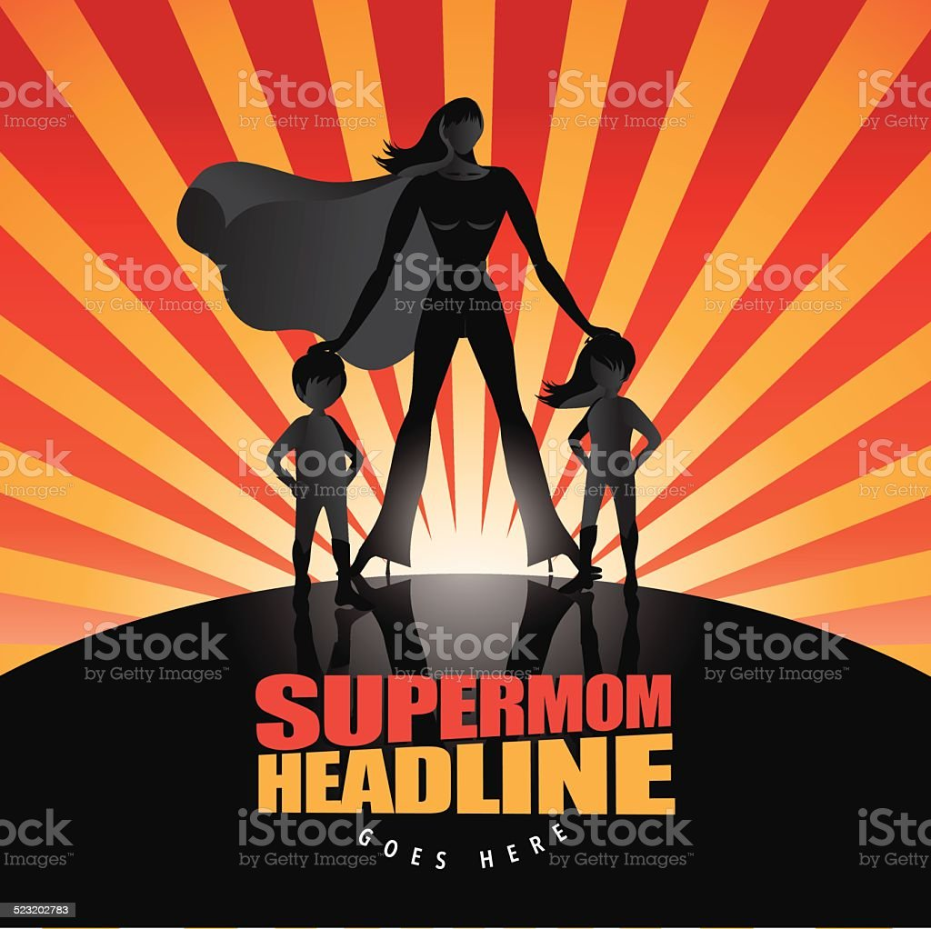 Supermom with two children background vector art illustration