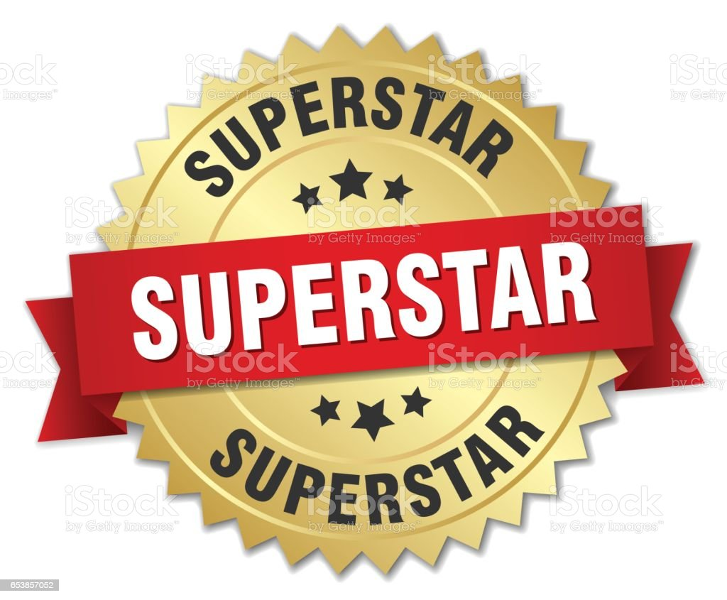 superstar 3d gold badge with red ribbon vector art illustration