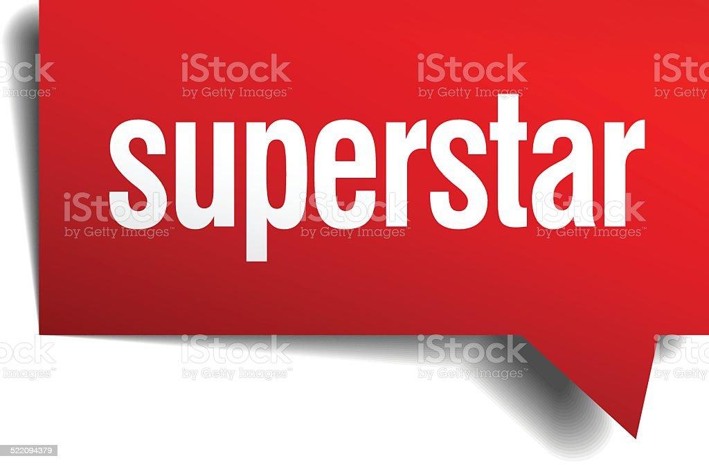 superstar red 3d realistic paper speech bubble vector art illustration