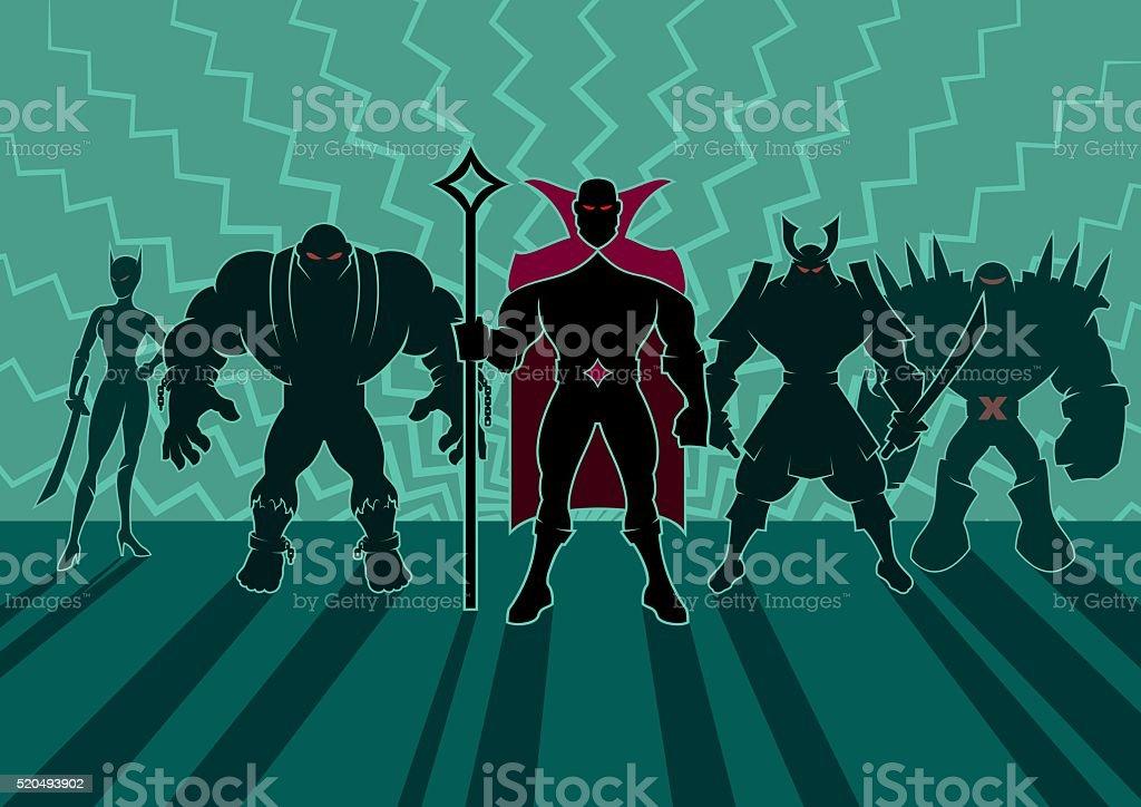 Supervillain Team vector art illustration