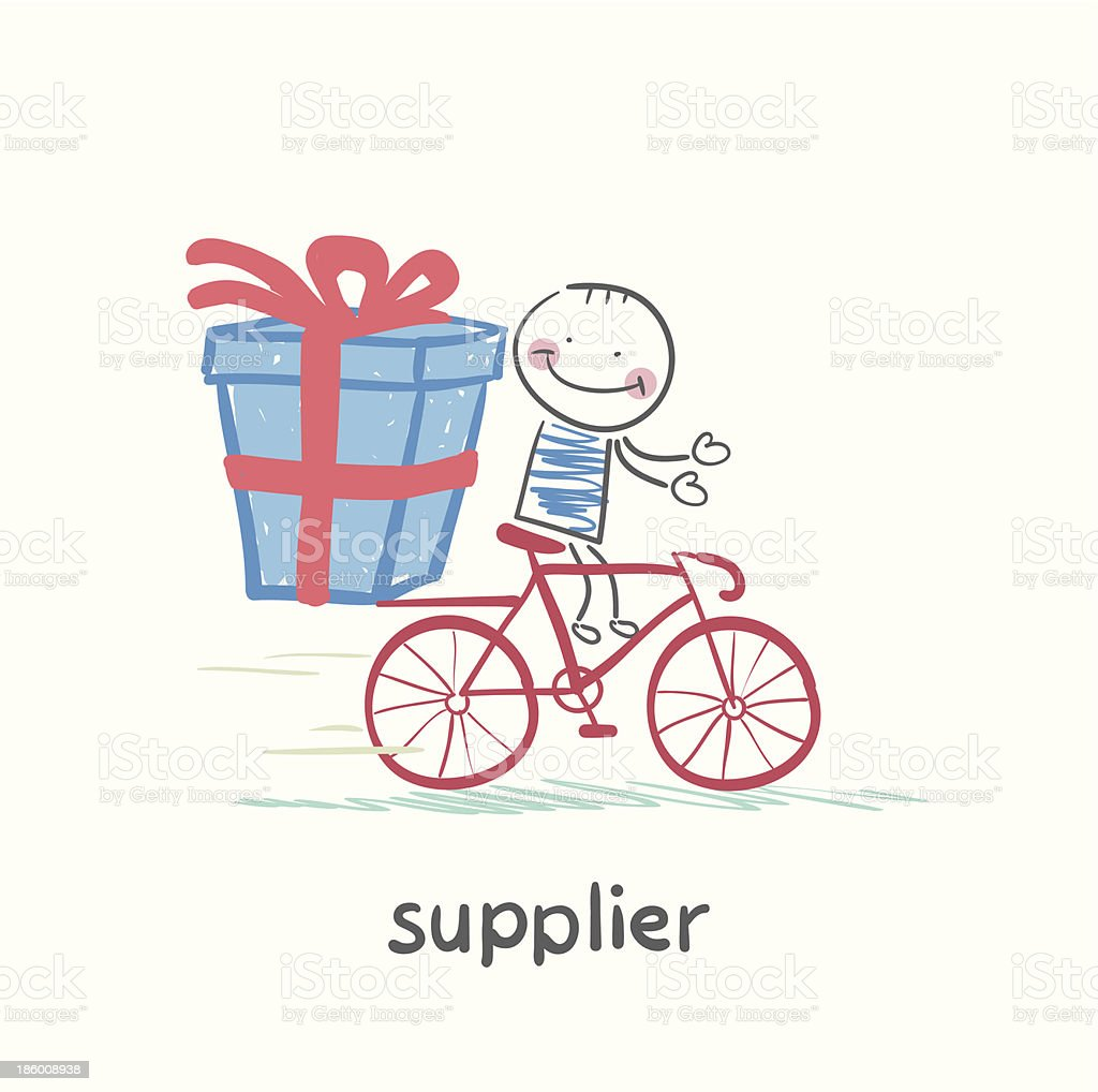 supplier  rides a bike with the goods royalty-free stock vector art
