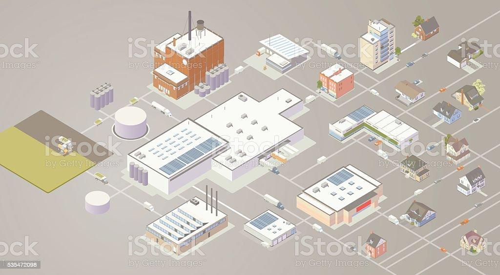 Supply Chain Diagram Illustration vector art illustration