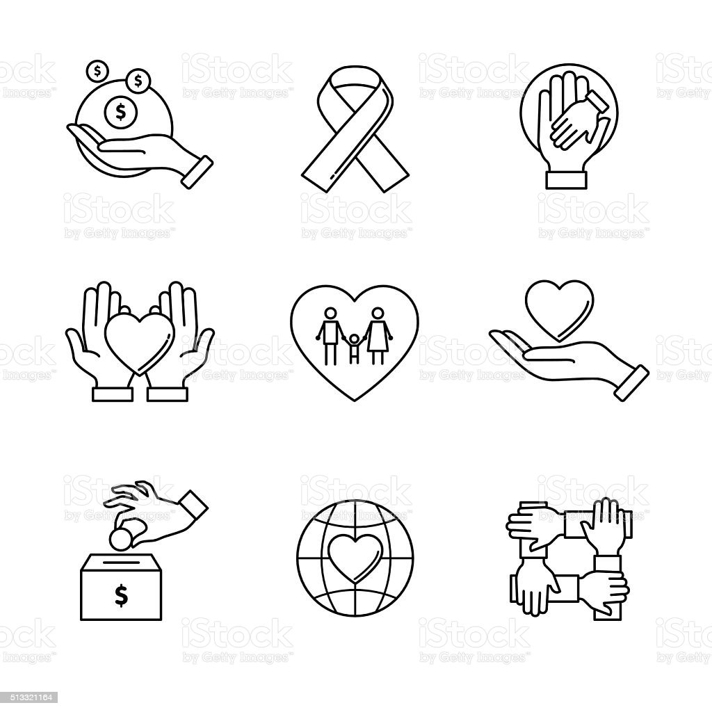 Support and care icons thin line art set vector art illustration