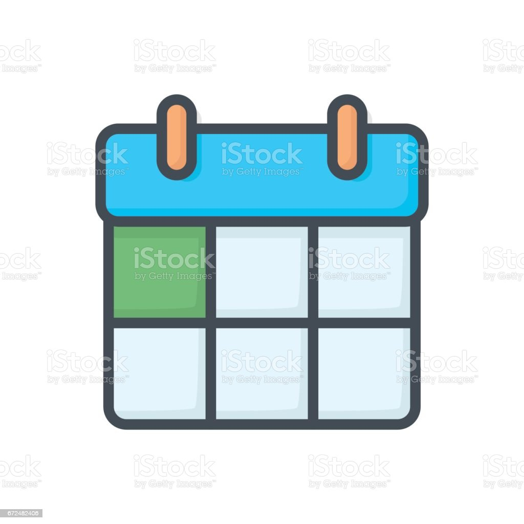 Support Contacts Work Service Colored Icon Calendar vector art illustration