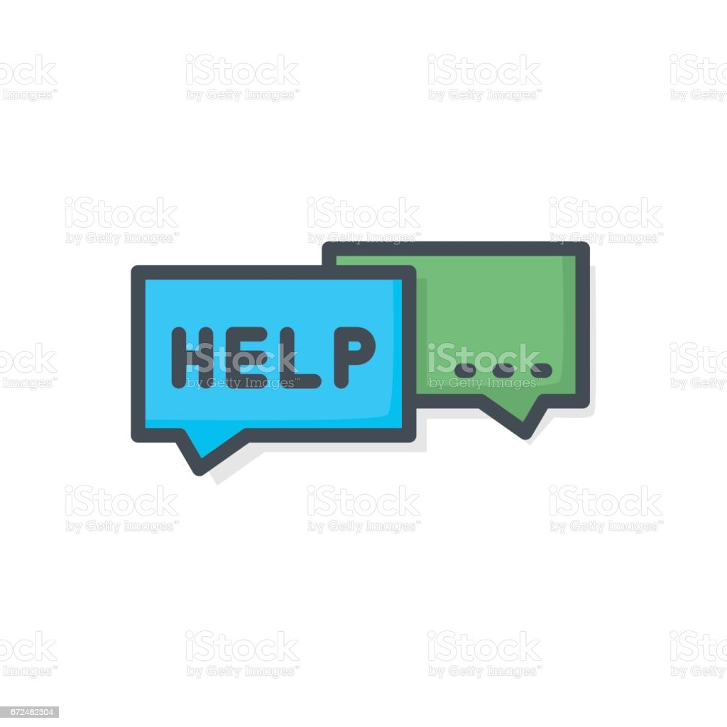 Support Contacts Work Service Colored Icon Help Chat vector art illustration