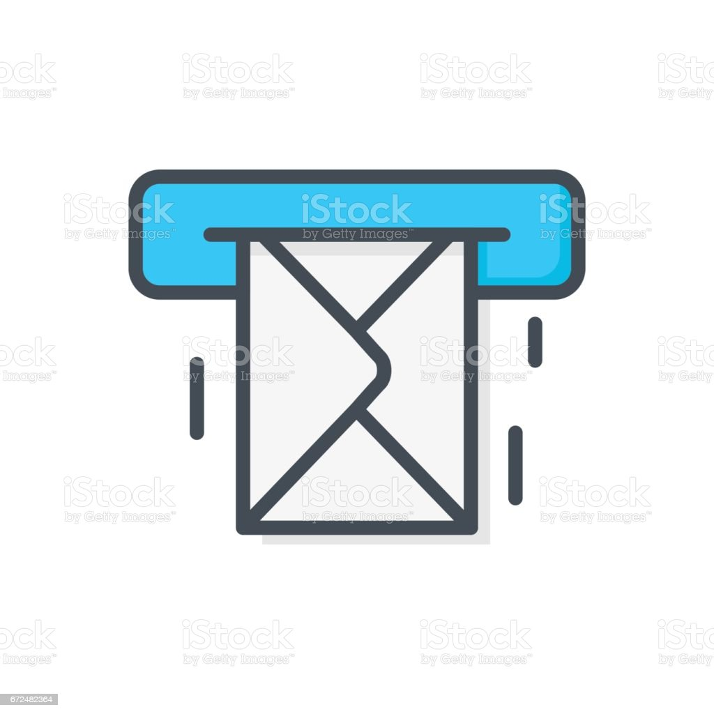 Support Contacts Work Service Colored Icon Mail Message vector art illustration