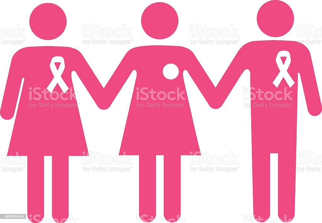 Support group for a breast cancer patient vector art illustration