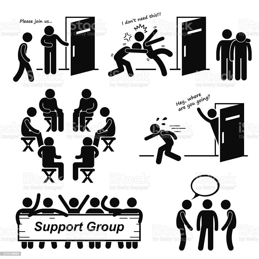 Support Group Meeting Stick Figure Pictogram Icons vector art illustration