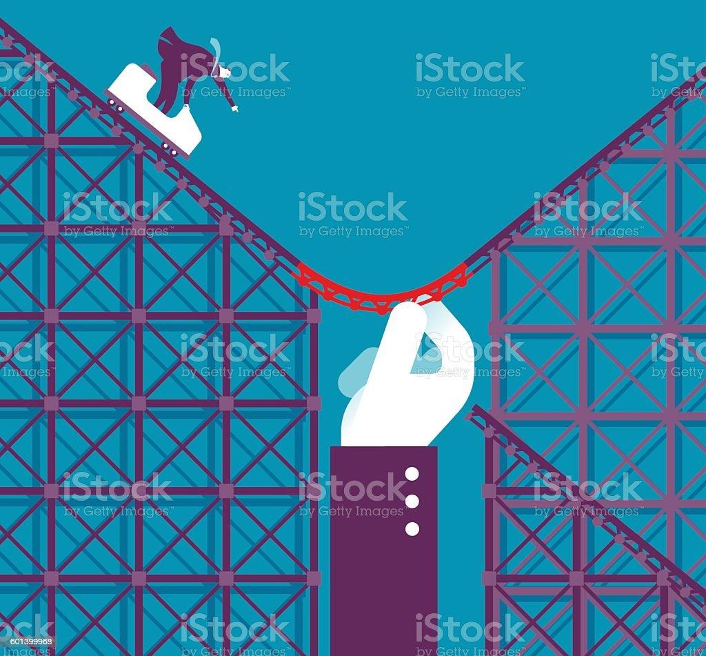 Support in a Roller coaster vector art illustration