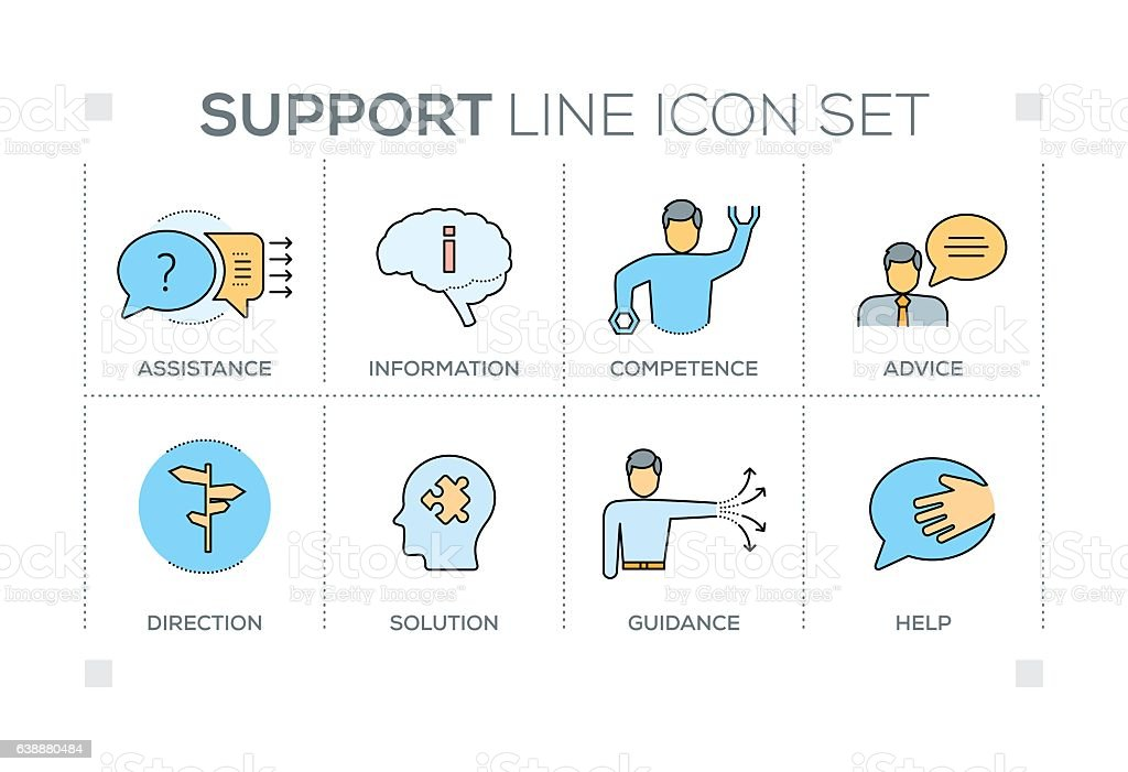 Support keywords with line icons vector art illustration