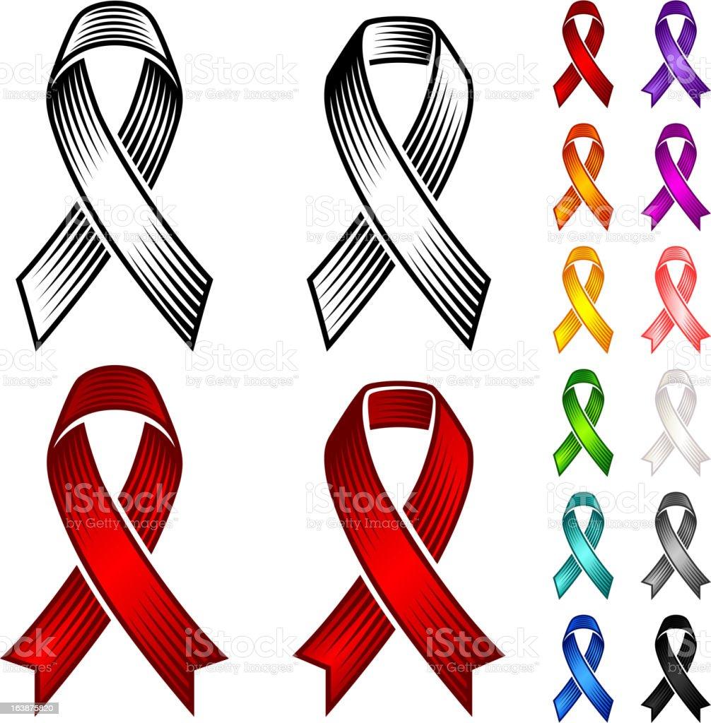 Support Ribbon Set vector art illustration