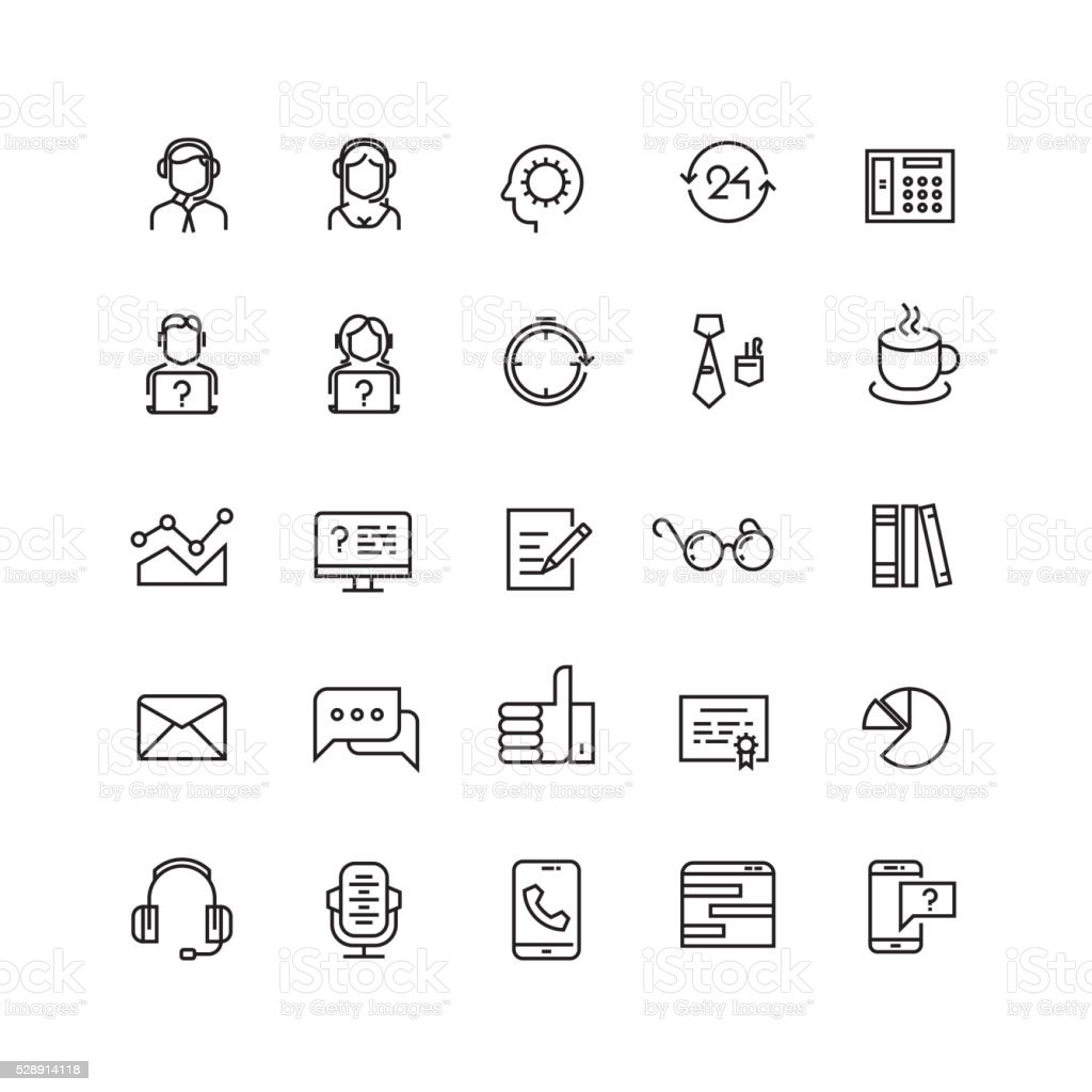 Support service, telemarketing, contact us vector line icons vector art illustration