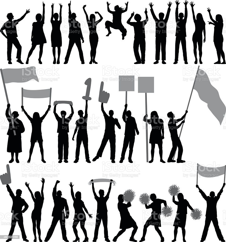 Supporters or Protestors vector art illustration