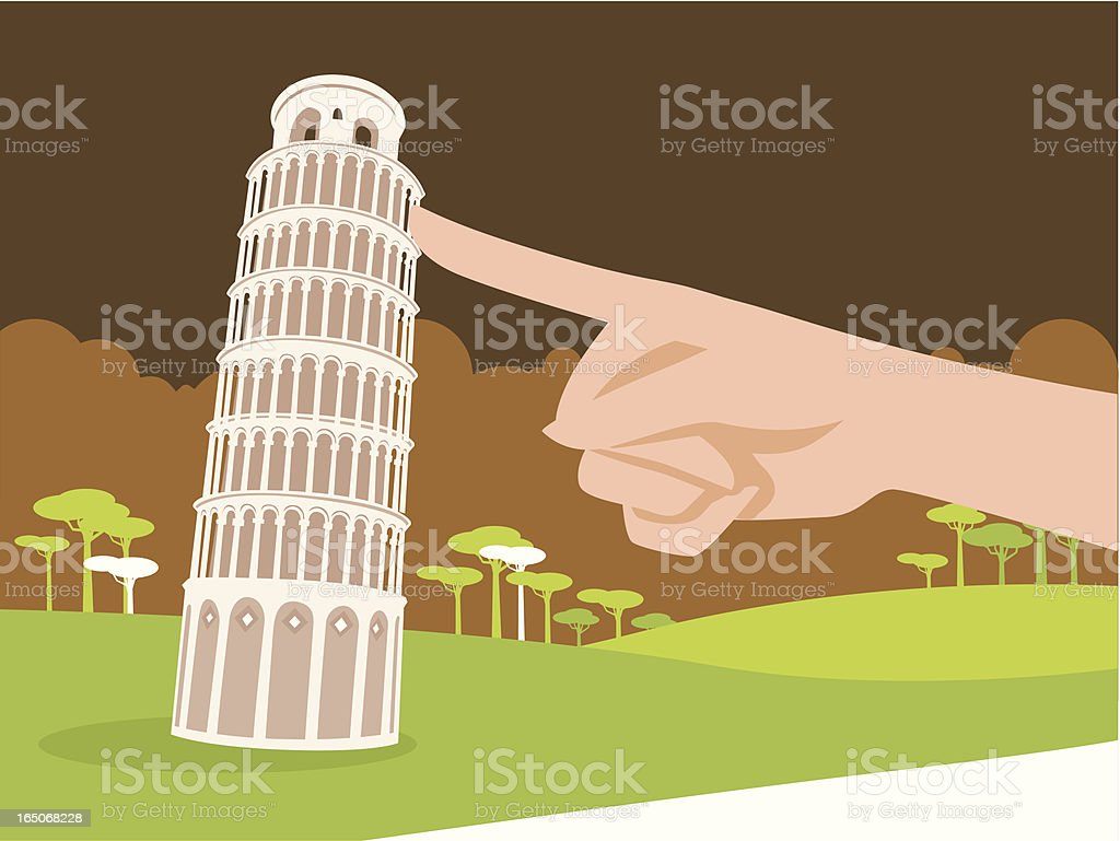 Supporting the Leaning Tower of Pisa with One Finger vector art illustration