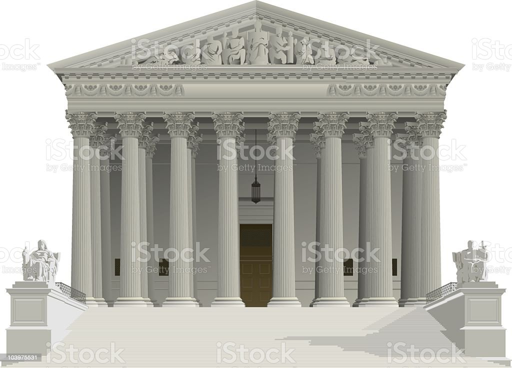 US Supreme Court building vector art illustration