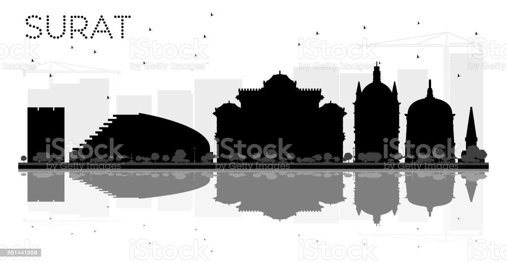 Surat City skyline black and white silhouette with reflections. vector art illustration