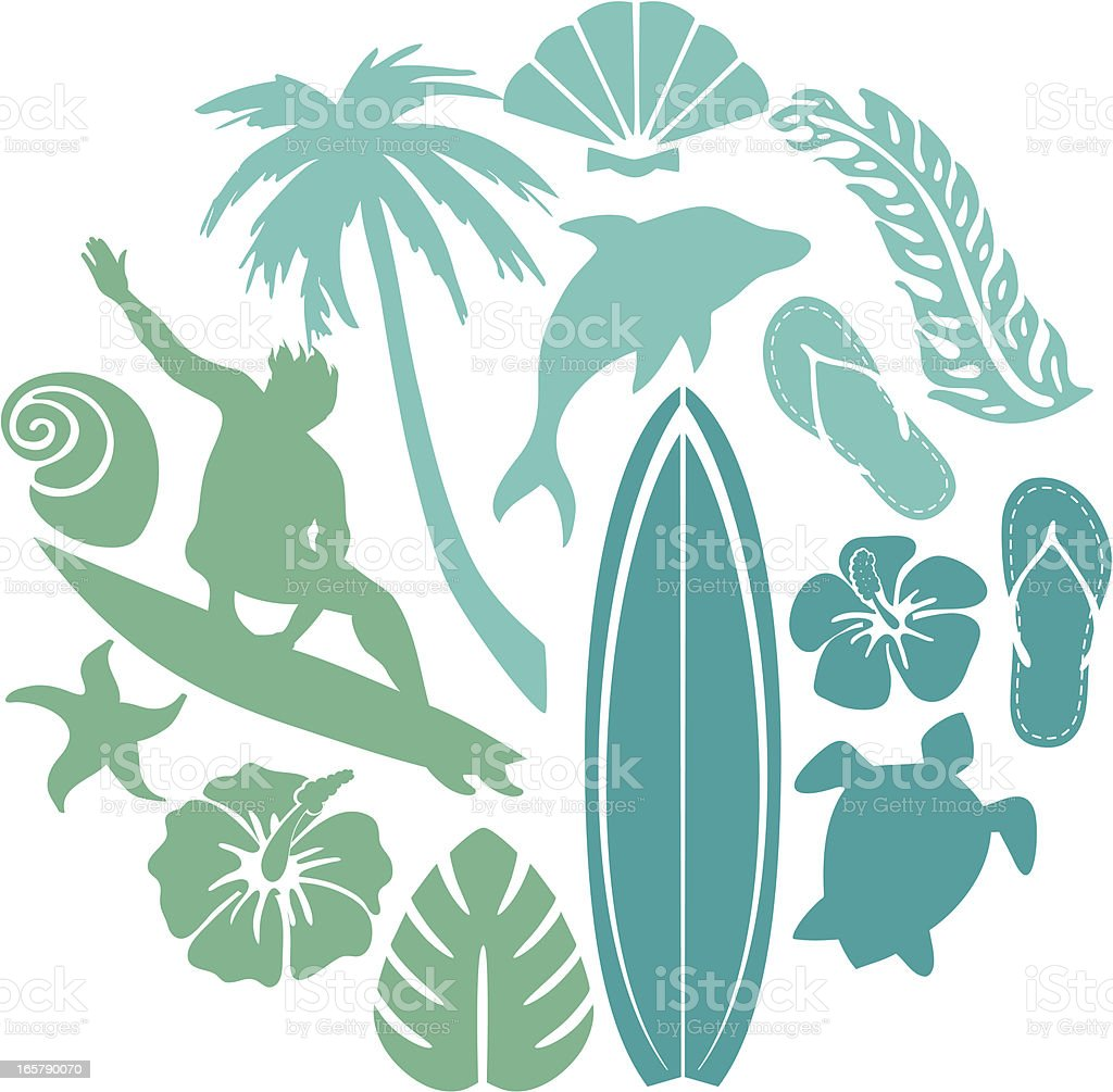 Surf and Beach Composition royalty-free stock vector art