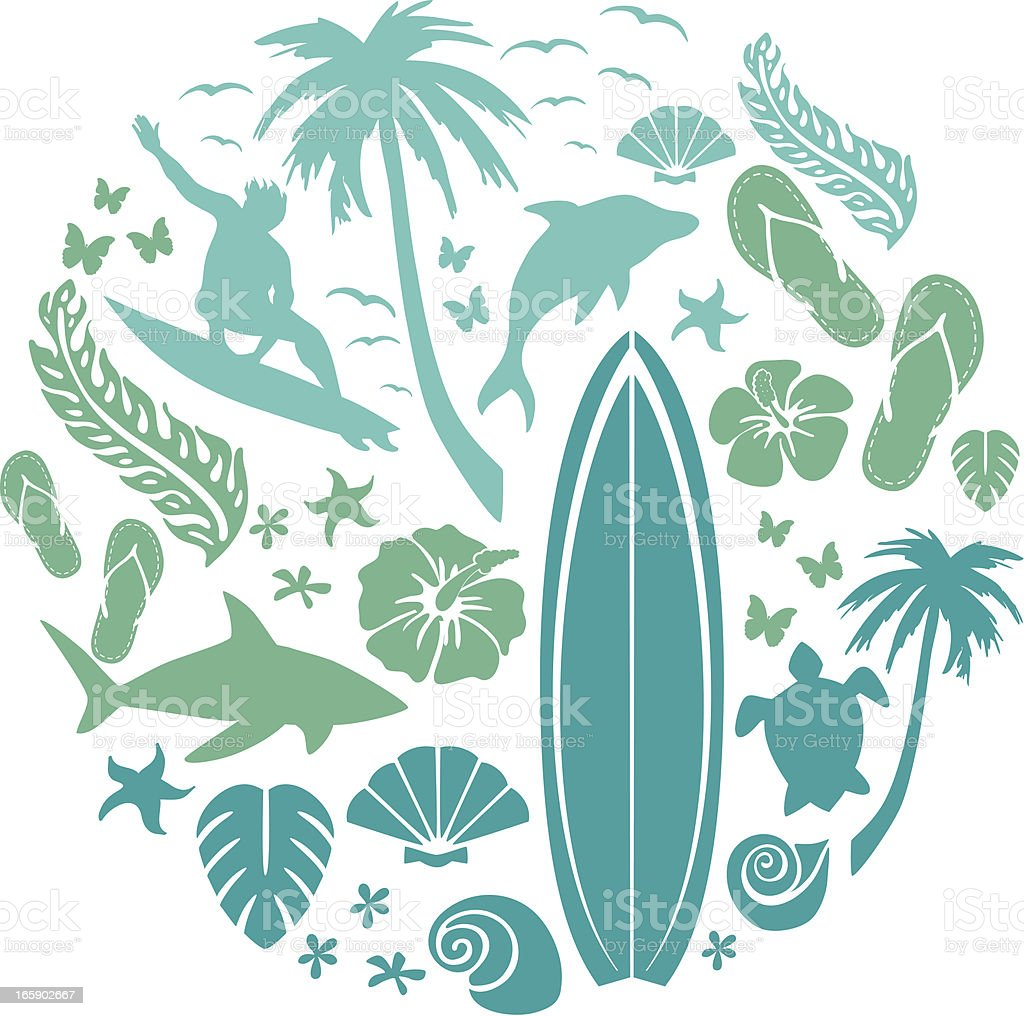 Surf and Beach Composition vector art illustration