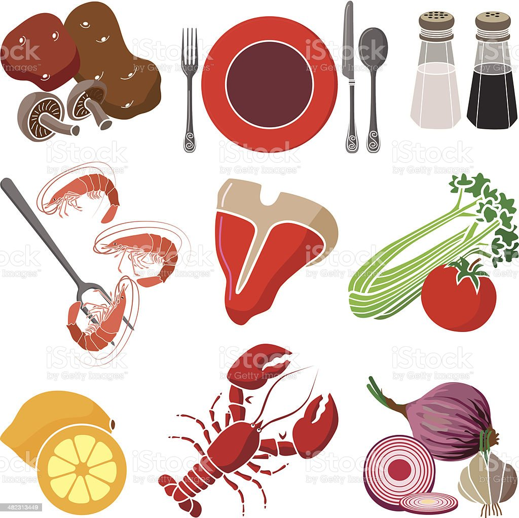 surf and turf dinner design elements royalty-free stock vector art