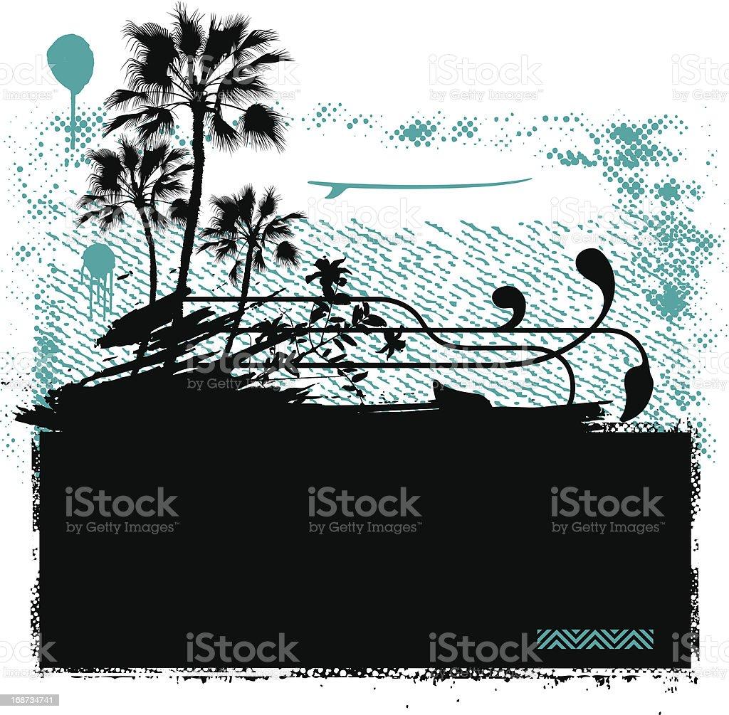 surf banner with grunge background and summer scene vector art illustration
