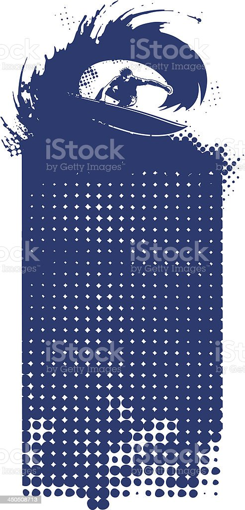 surf banner with surfer in tube royalty-free stock vector art