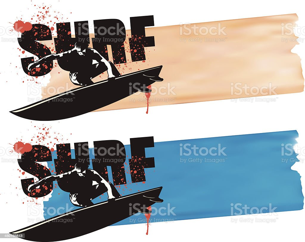 surf banner with surfer jumping royalty-free stock vector art