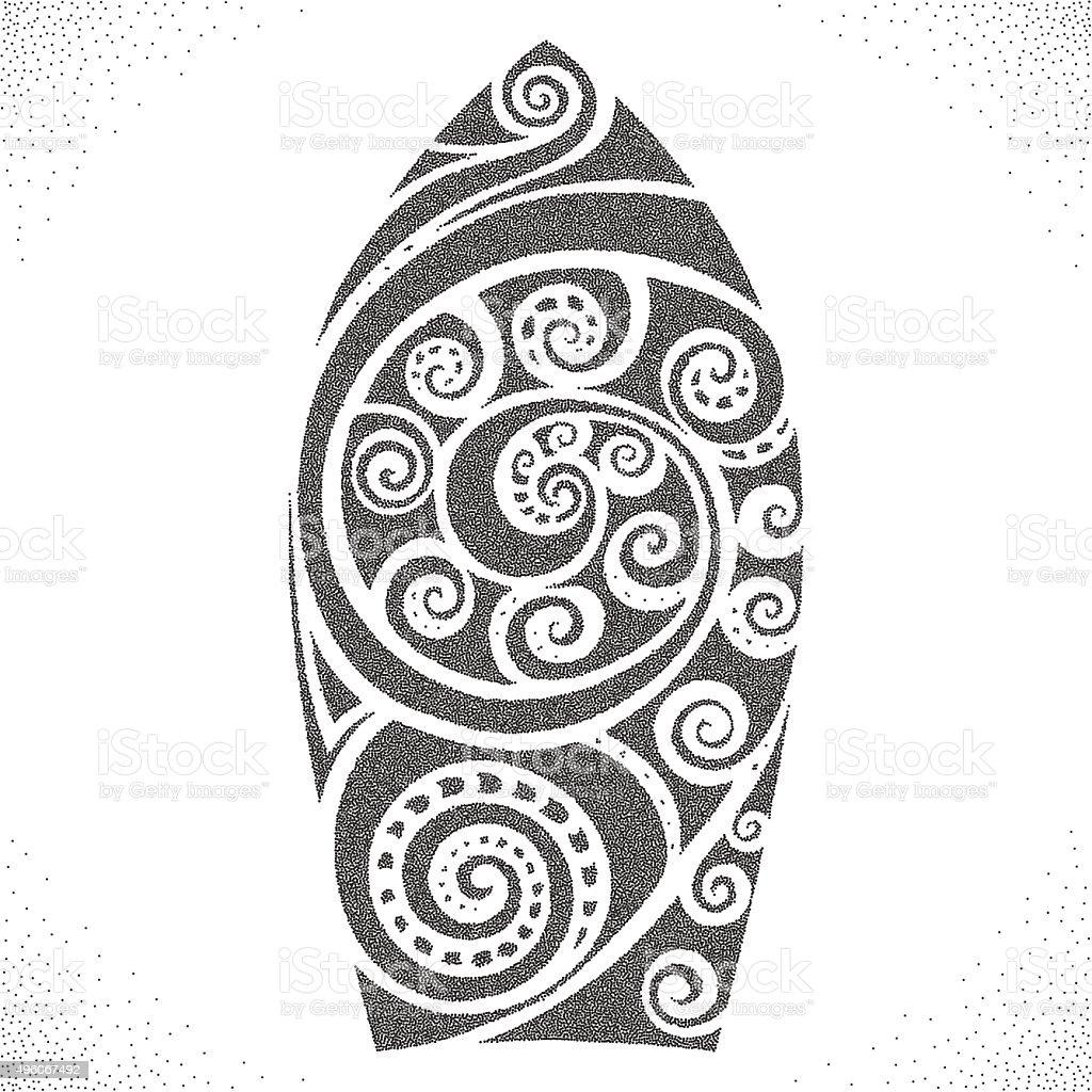 Surf board. Dotwork pattern vector art illustration
