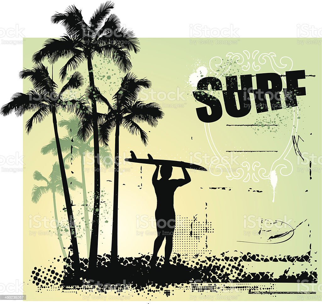 surf coast with surfer and grunge background royalty-free stock vector art