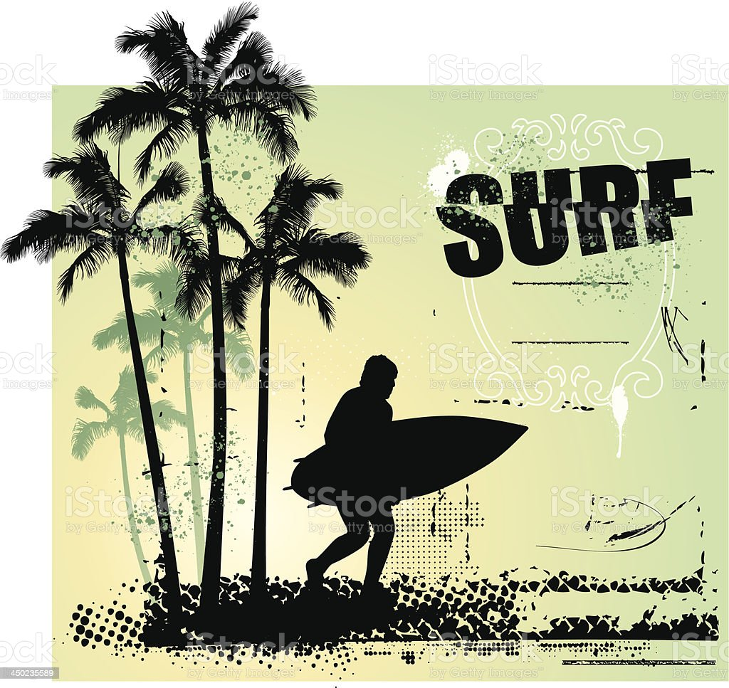 surf coast with surfer running and grunge background royalty-free stock vector art