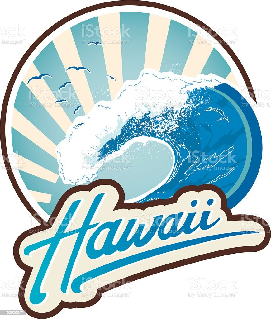 Surf emblem Hawaii royalty-free stock vector art