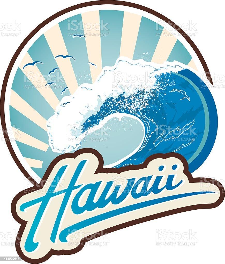 Surf emblem Hawaii vector art illustration