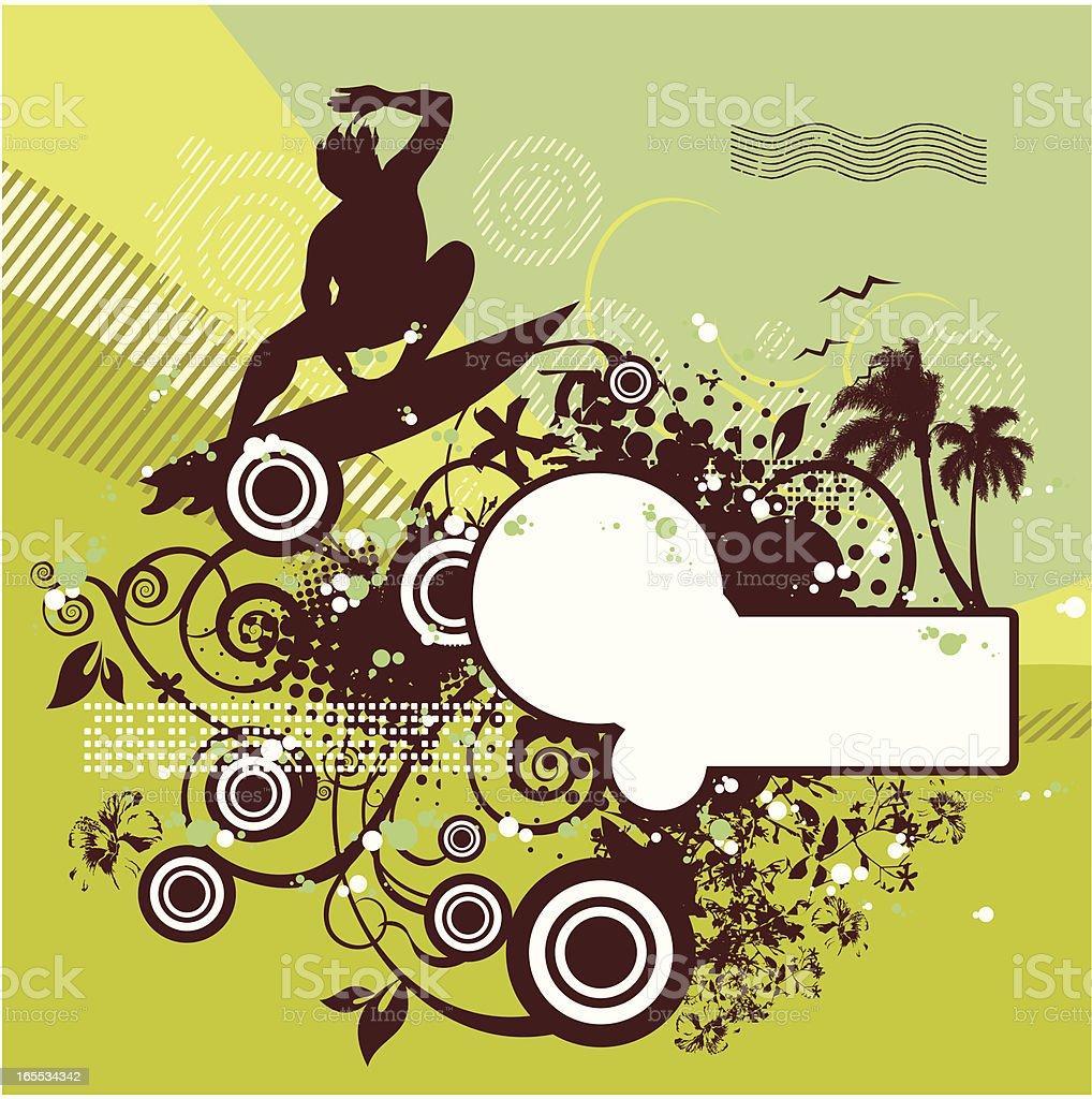 surf floral vector art illustration