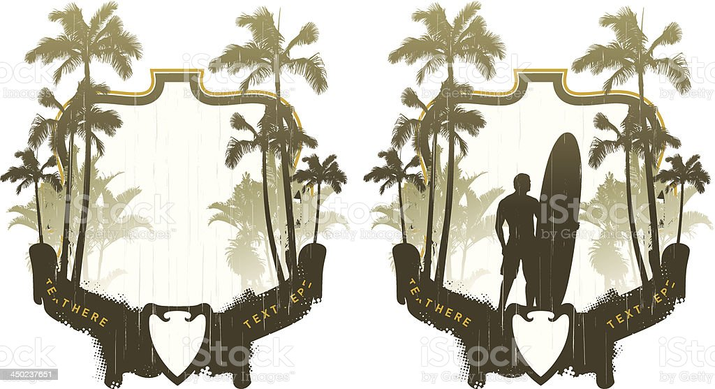 surf frames with palms and surfer royalty-free stock vector art