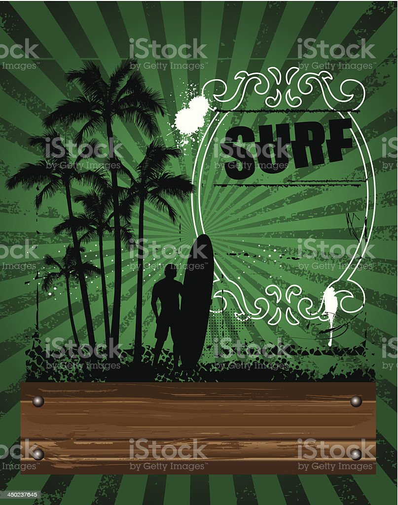 surf green poster with wood banner royalty-free stock vector art
