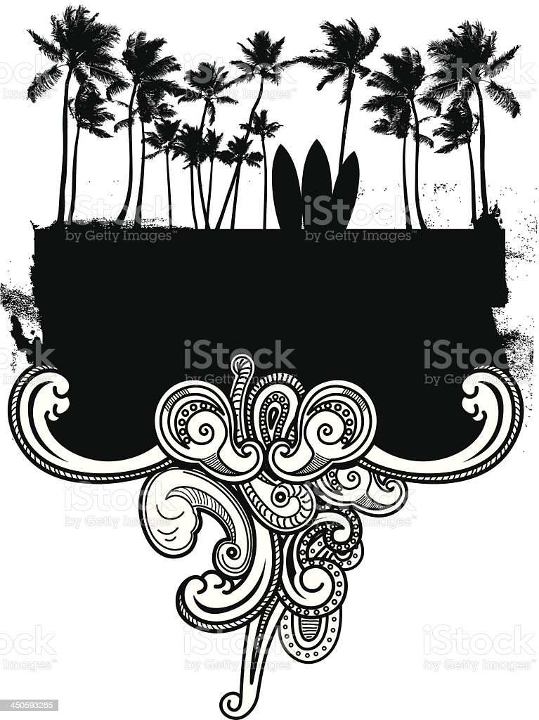 surf grunge frame with palms and waves royalty-free stock vector art