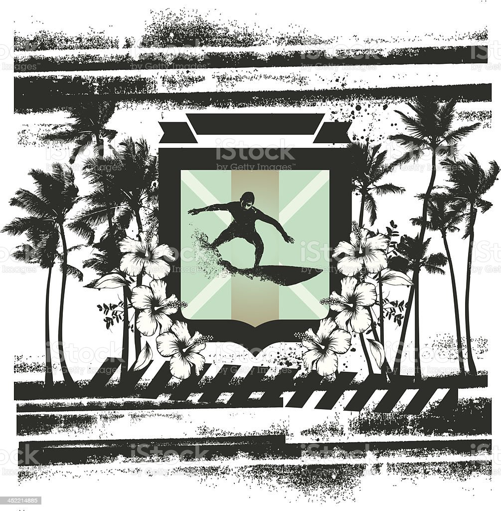 surf grunge scene with palms and rider royalty-free stock vector art