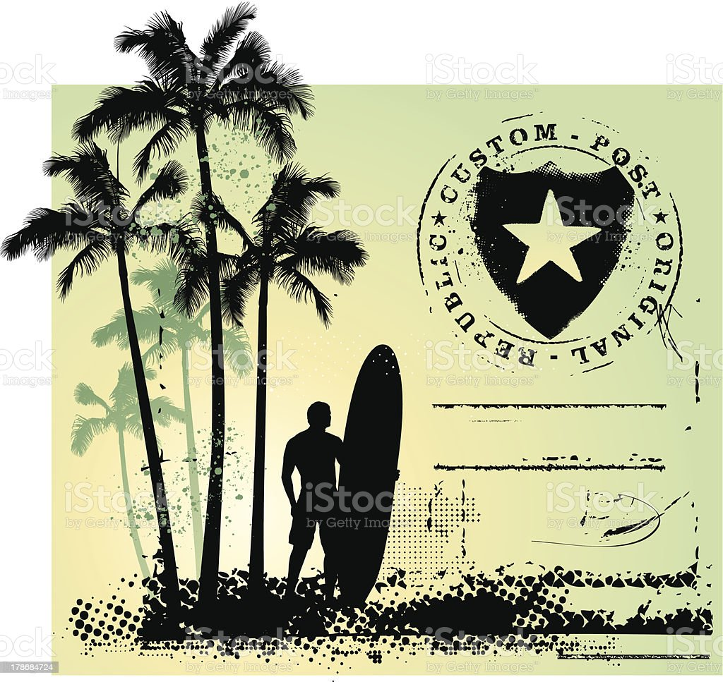 surf grunge scene with shield and gradient background vector art illustration