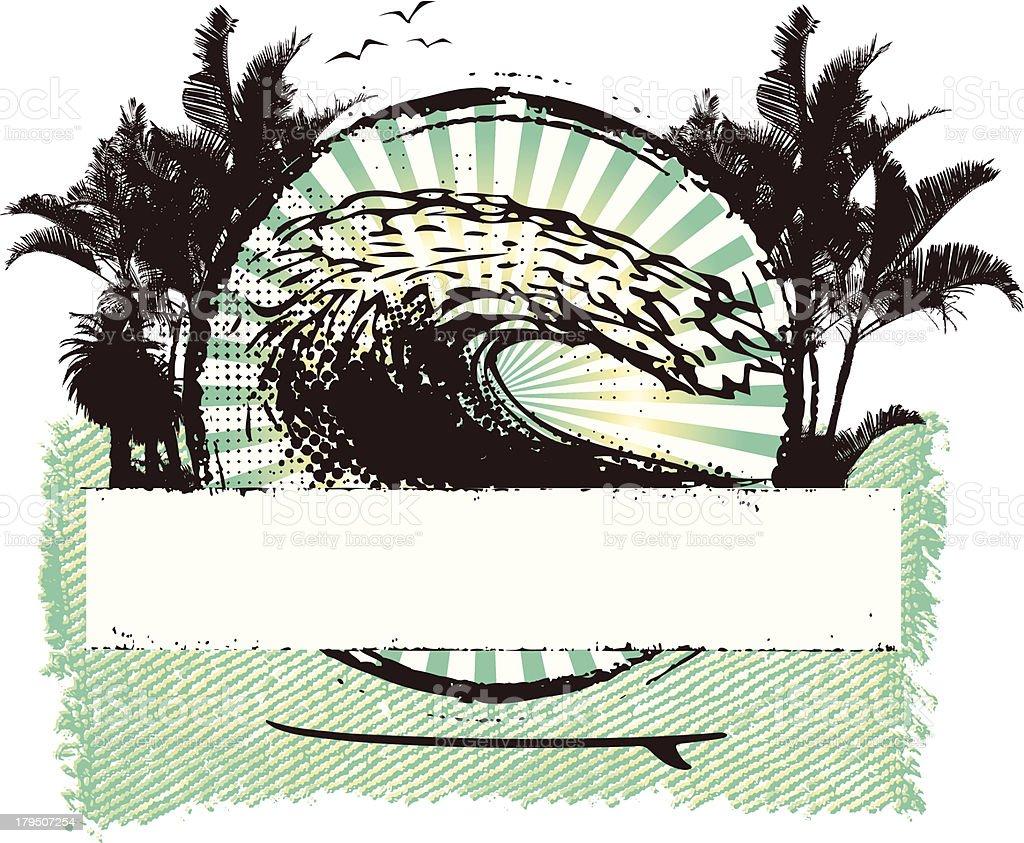 surf grunge shield with big wave vector art illustration