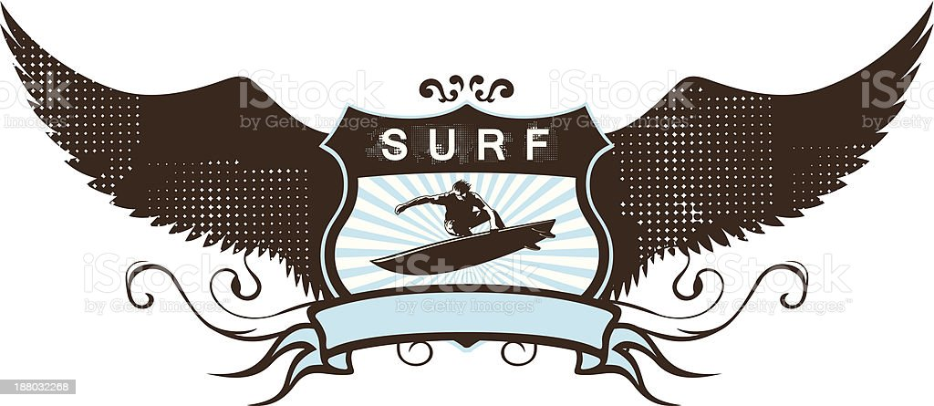 surf grunge shield with surfer and wings vector art illustration