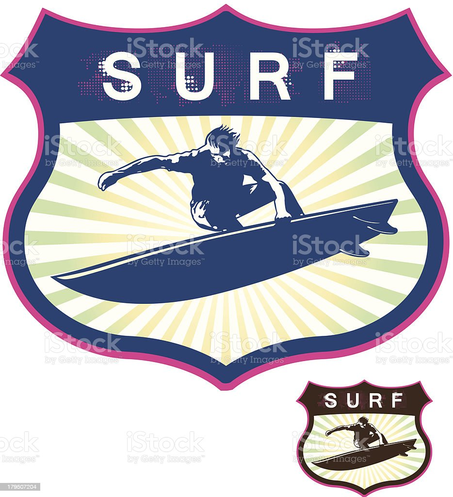 surf grunge shield with surfer jumping royalty-free stock vector art