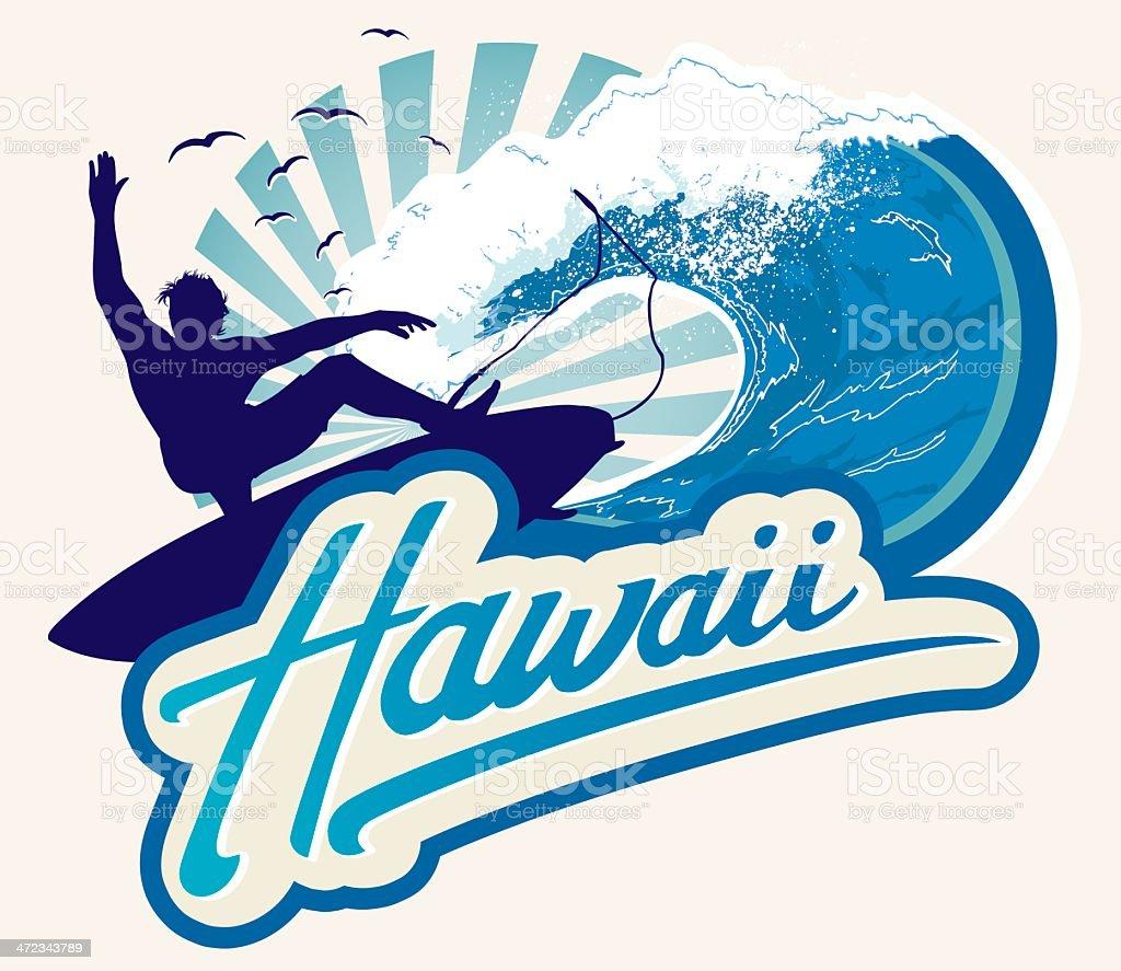 Surf Hawaii type emblem royalty-free stock vector art