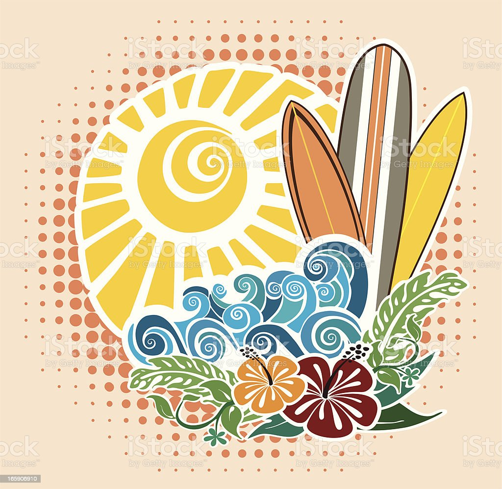 Surf Holidays Emblem royalty-free stock vector art