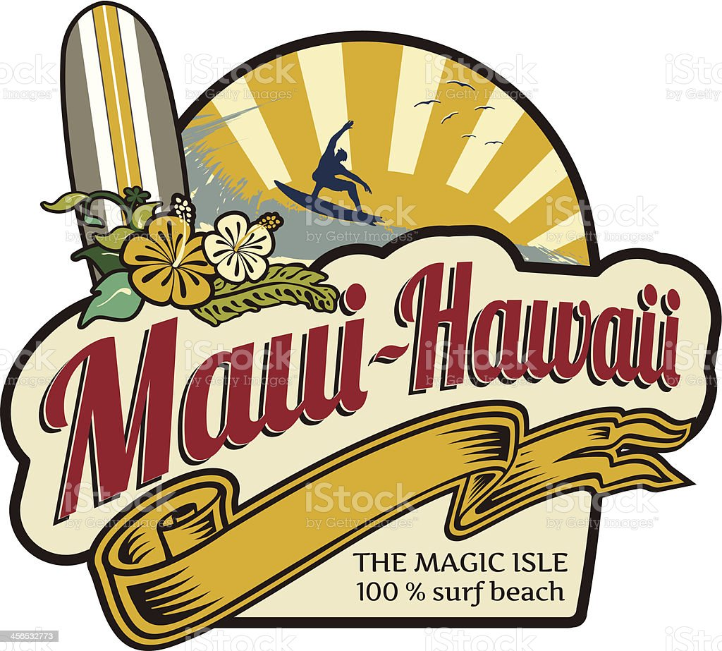 Surf label Maui-Hawaii holidays royalty-free stock vector art