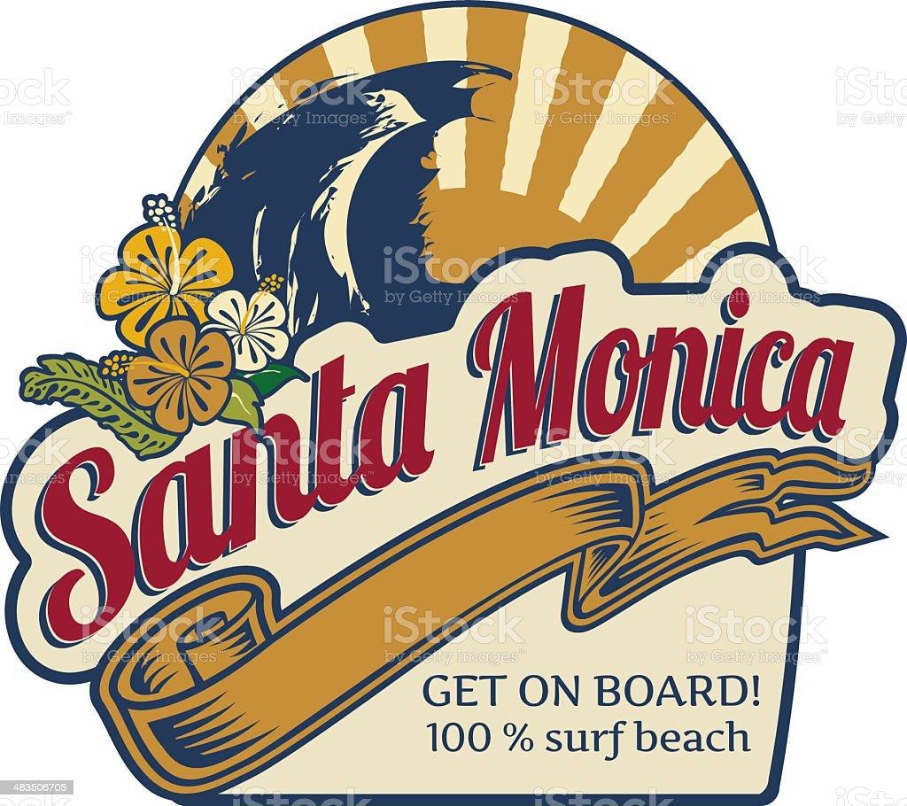 Surf label Santa Monica beach vector art illustration