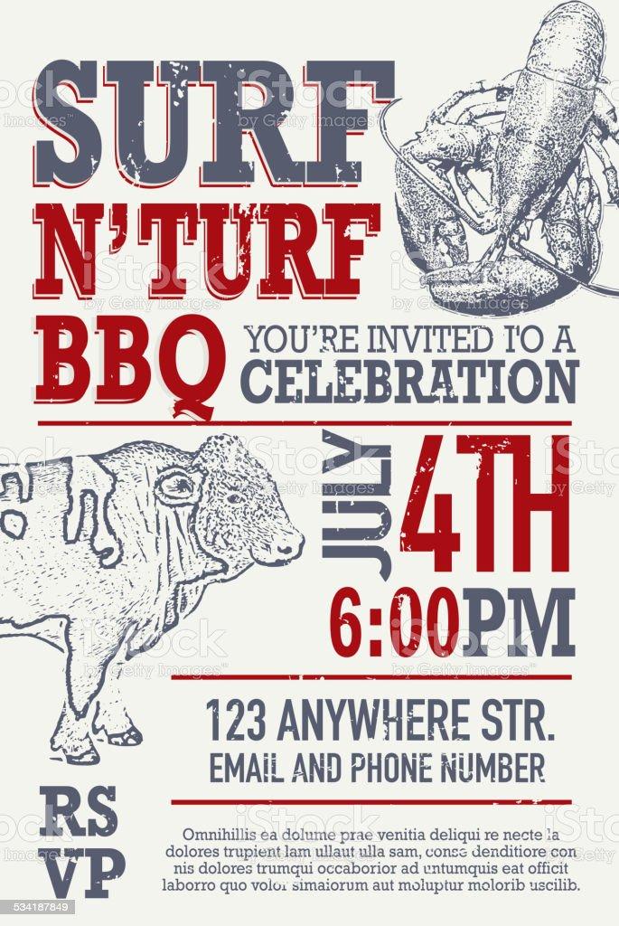 Surf N' Turf BBQ invitation design template vector art illustration