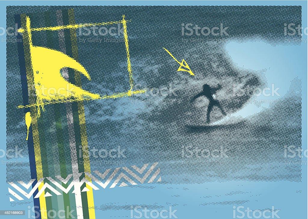 surf poster with halftone surfer background vector art illustration